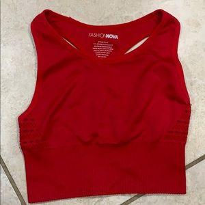 FashionNova Red Seamless Active Sports Bra S/M